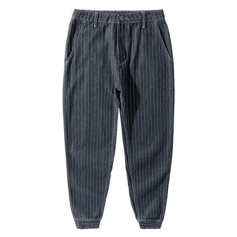 일본식 패션 남성 청바지 스트라이프 디자이너 느슨한 착용화물 바지 hombre slack bottom streetwear 힙합 조깅 청바지 남성