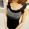 Menina Rhinestone Lantejoula Lace Tanque das Mulheres Top Sling Camisole Cami Camisa Colete Slim-Y107