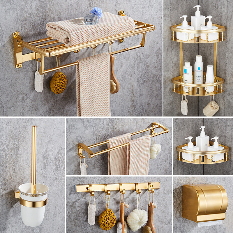Bathroom Accessories Set Golden Finished Aluminum Bath Hardware Sets Towel Rack Toilet Brush Holder Bathroom shelves Robe Hook