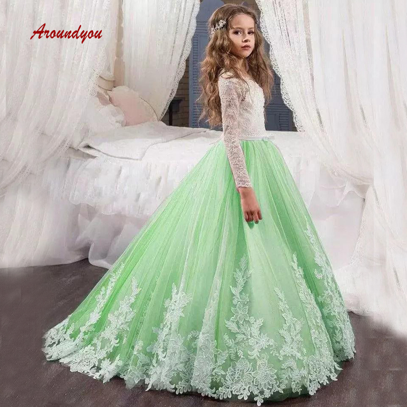 Green Long Sleeve   Flower     Girl     Dress   for Party and Weddings Tulle Pageant First Holy Communion   Girls     Dress   for   Girls   Gown 2019