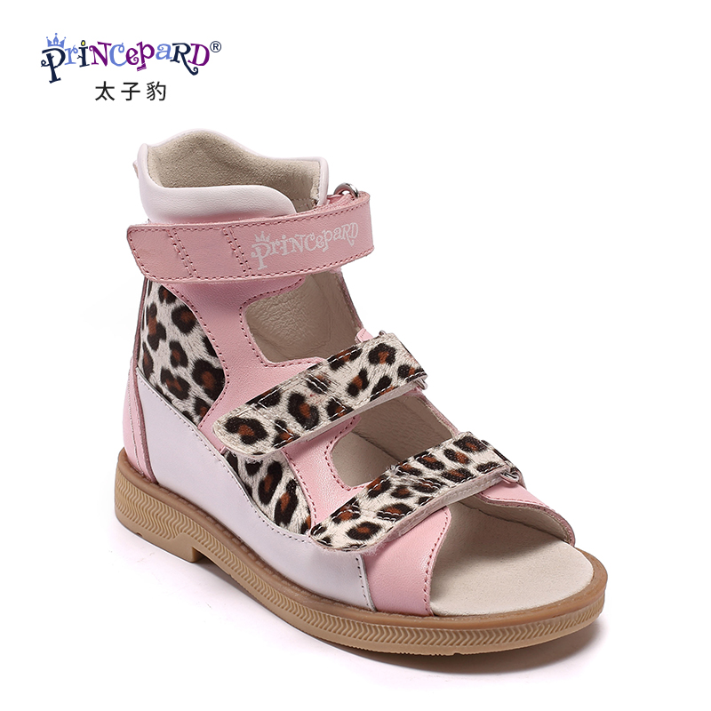 Princepard Hot Sale pink genuine leather Girl Children Sandals Orthopedic shoes, Summer Kids child's baby princess Shoes