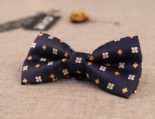 New Casual Golden Flower Butterfly Ties For Men,Fashion Wedding Tuxedo Blue Color Bowtie(China)