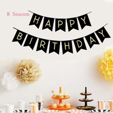 8Season Happy Birthday Bunting Garland Flags Themes Aluminum balloon Banner Baby Shower Party Decoration