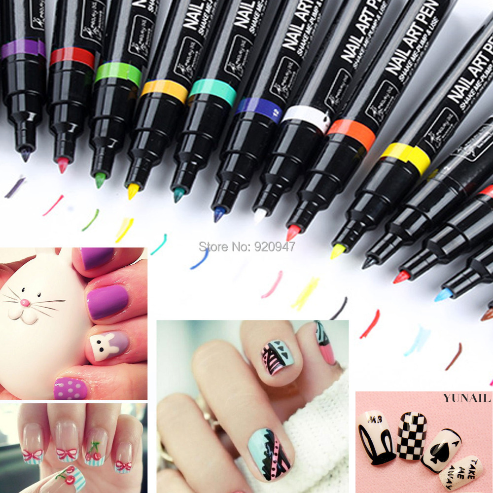 Nail Art Pen Painting Design Tool Drawing For UV Gel Polish 24 ...