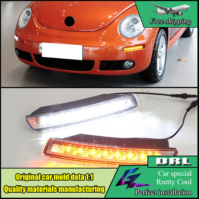 Car Styling LED Daytime Running Light For Volkswagen VW Beetle 2007 2008 2009 2010 LED Bumper DRL With Yellow Turn Signal Lamp 1set car accessories daytime running lights with yellow turn signals auto led drl for volkswagen vw scirocco 2010 2012 2013 2014