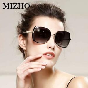 Image 2 - MIZHO marka miedziane metalowe kwadratowe spolaryzowane okulary przeciwsłoneczne dla kobiet gradientowe luksusowe stylowe akcesoria optyczne TR90 okulary damskie ponadgabarytowe