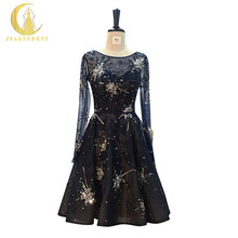 JINLINZEYI Sexy Real Picture Navy Blue Long Sleeves Beads Sequins Knee Length party Dresses Formal Prom