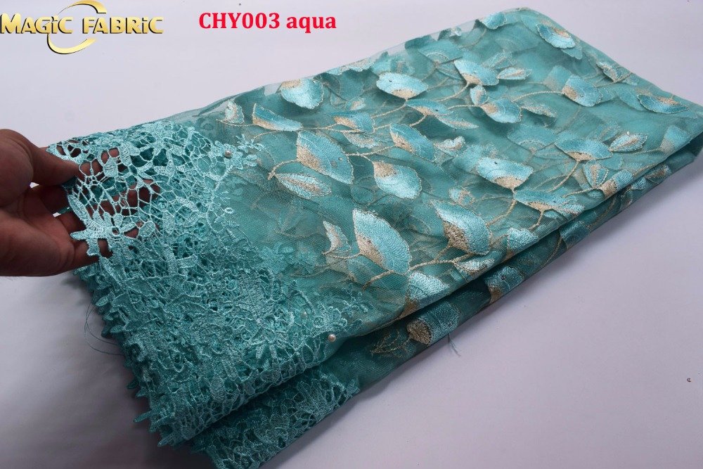 Latest 2017 African Lace Fabric With Beads And Stones Nigerian Wedding Embroidered French Tulle Lace Material For Bridal  CHY003