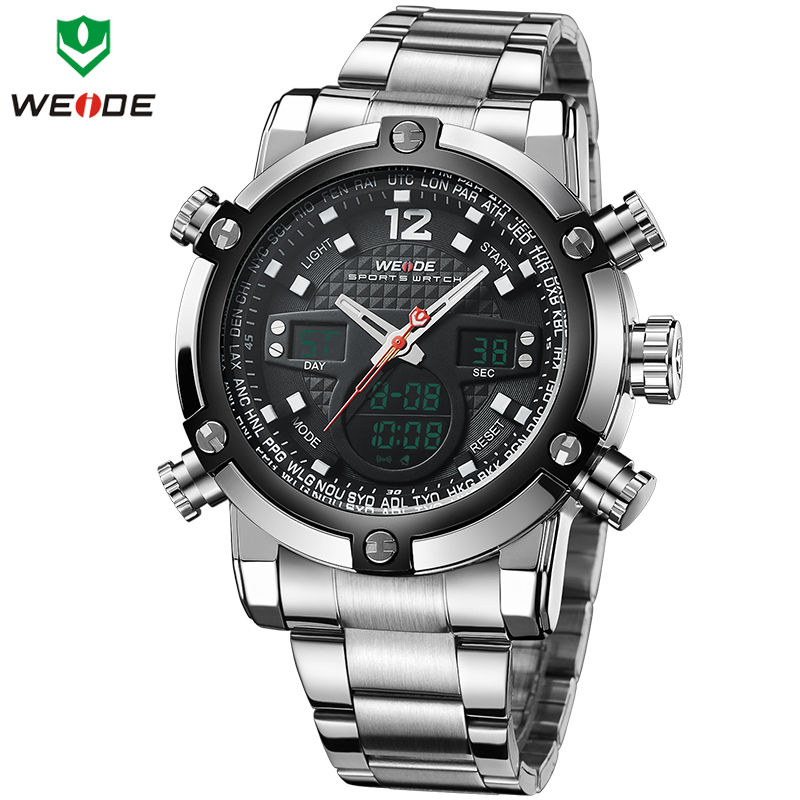 WEIDE Top Luxury Brand Quartz LED Digital Sports Steel Wrist Watch 1