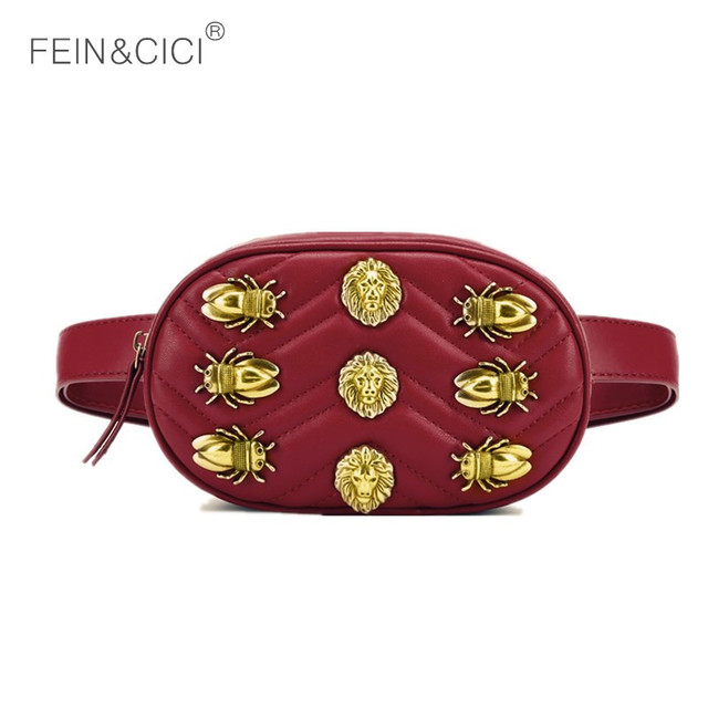 Fanny Pack waist bag women round rivets Waist Packs cicadas lions belt bags luxury brand fashion black red beige color