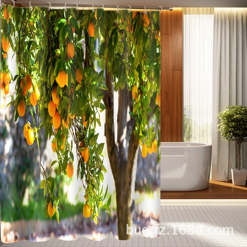 3D printing Orange trees printed shower curtain unique shower curtains for bathroom free shipping