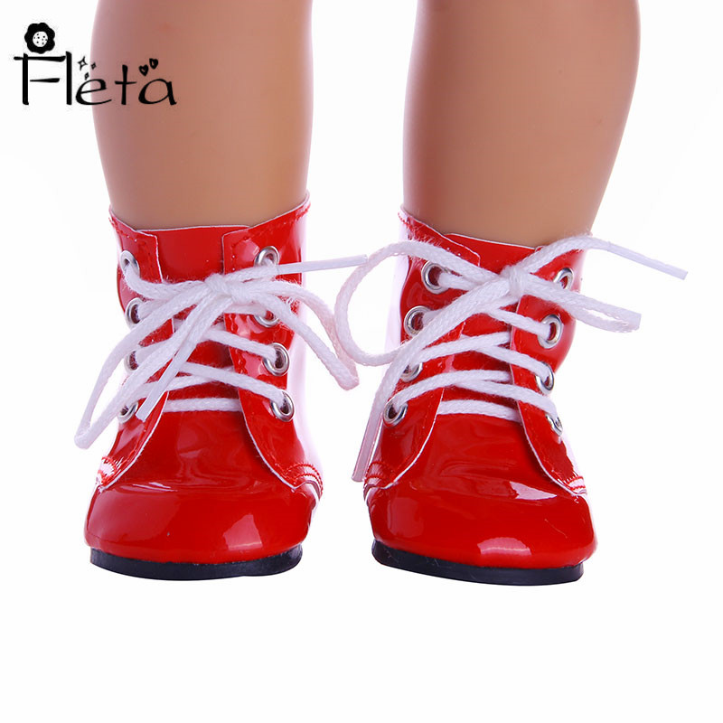 2019 New Design Doll Shoes Red Leather Boots For 18 Inch American  Dolls