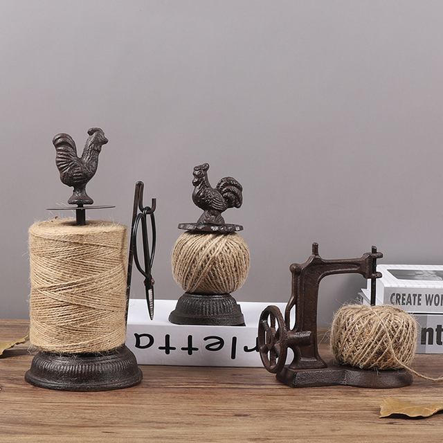 Antique Rustic Big Rooster Cast Iron Hemp Rope Roll Holder With Scissors Figurines European Home Garden Decor Animal Statues 6