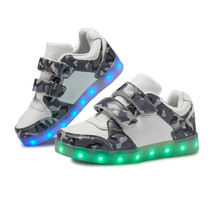 New Children Glowing Sneakers Boys Girls Camouflage Fashion LED Light shoes USB Charging Kids Lighted Baby Toddler Flats 02B