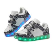 New Children Glowing Sneakers Boys Girls Camouflage Fashion LED Light shoes USB Charging Kids Lighted Baby Toddler Flats 02B цена в Москве и Питере