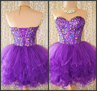 Actual Image Purple Homecoming Dresses 2015 Vestidos Under 100 Crystal Sweetheart A Line Short Party Graduation Dress Gowns