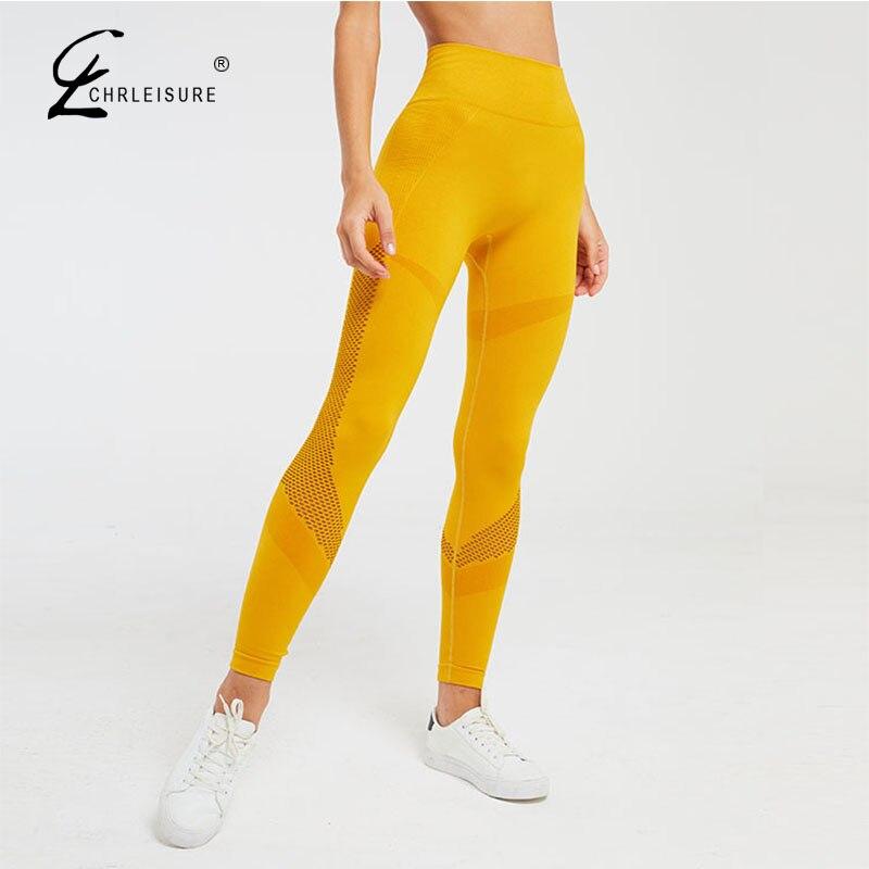 CHRLEISURE Women Fitness Legging Workout Push Up Leggings High Waist Seamless Leggins Activewear Mesh Elasticity Leggings