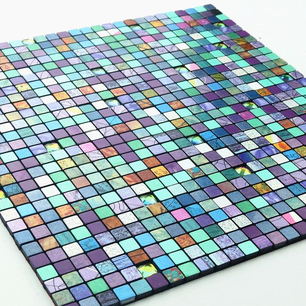 Yazi metal 3d mosaic wall sticker aluminum composite panel for Mosaic wallpaper for walls