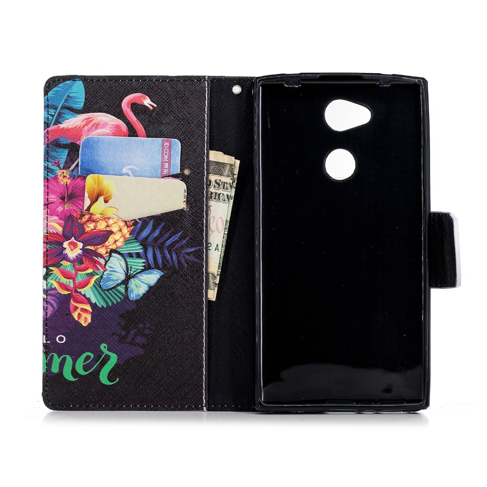 For Sony Xperia L2 PU leather Case Unicorn Panda Elephant Flamingos Butterfly Painted Flip Wallet Cover for Sony Xperia L2