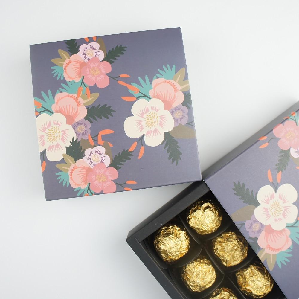 13.1*13.1*3.5cm Deep Spring Flower Theme 10 Set Chocolate Paper Box Valentine's Day Candy Storage Boxes DIY Handmade Multi-use