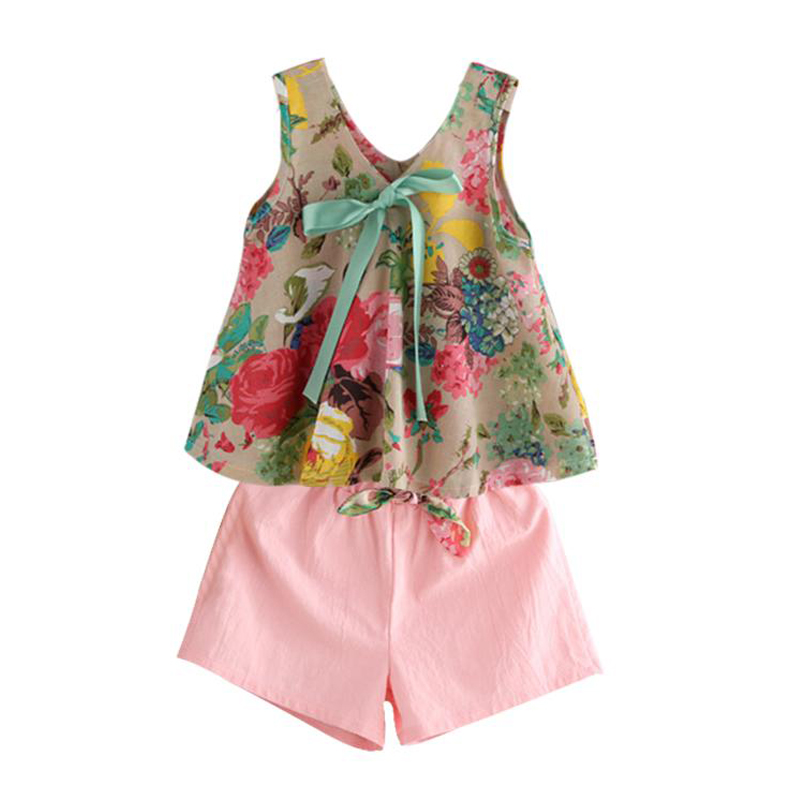 Floral Girls Clothes Summer Style Casual Children Clothing Set Vest Shorts Kids Suits for Girls 3 4 5 6 7 8 Year Clothes for Gir