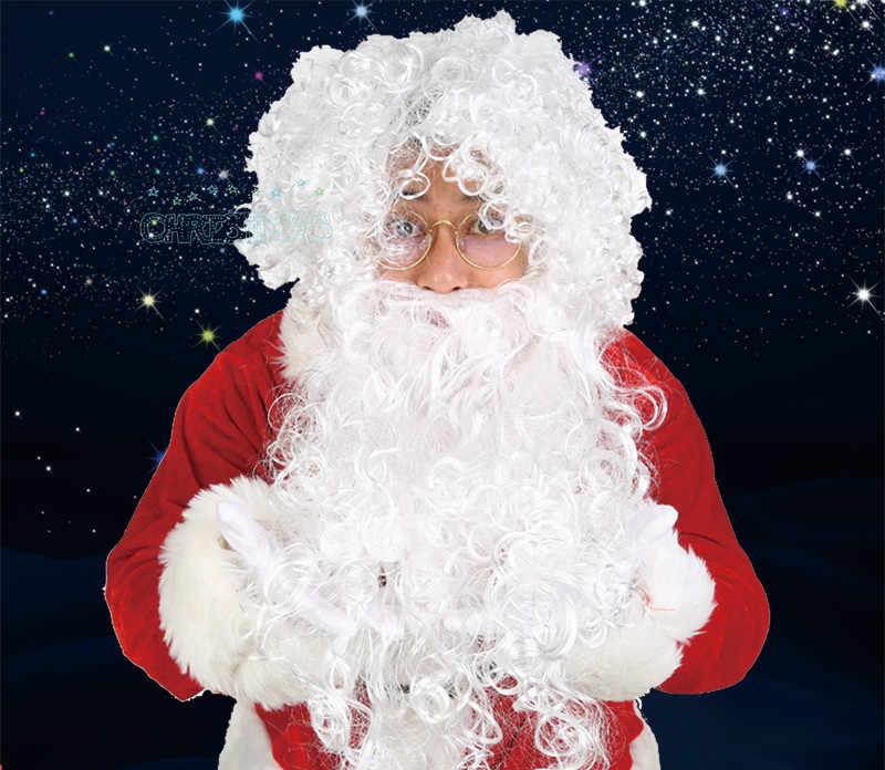 c64d596dad849 New Year White Santa Fancy Dress Costume Santa Claus Hair and Beard Set  Christmas Halloween Party