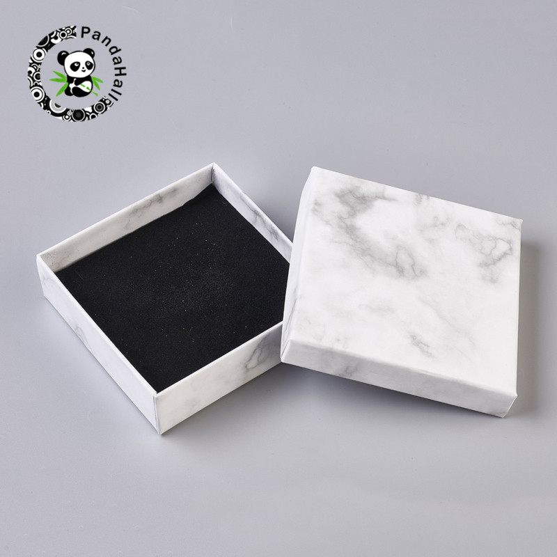 Pandahall 24 Pcs Rectangle/Square Paper Cardboard Jewelry Boxes For Jewelry Necklace Bracelet Earring Ring Gift Box White 5Sizes