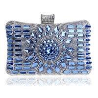 New glass diamond silver evening bags top quality gold clutch bag elegant blue bag party wedding bridal purse Shoulder Handbags