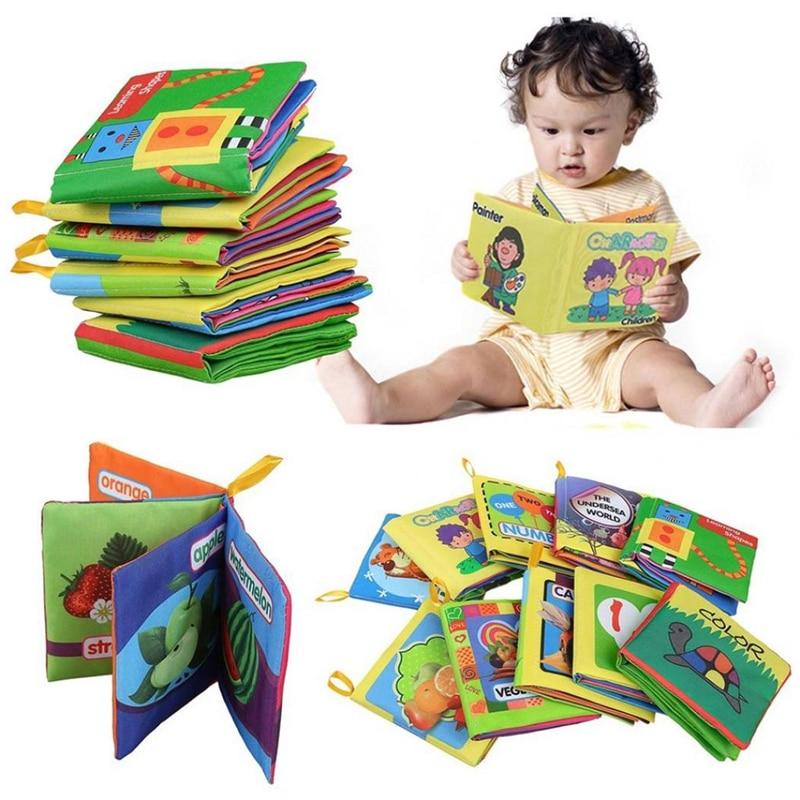 Pano macio Do Bebê Das Meninas Dos Meninos Carrinho de Livros Infantis Educativos Brinquedos Chocalho Para O Bebê Recém-nascido primeiros brinquedos educativos livro de Pano do bebê