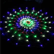 YINGTOUMAN 1.5*1.5m 160LED Colorful Spider Web Led Fairy string Lights Festival Party Layout Hotel Chandelier Net Lights(China)