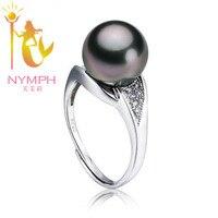 Нимфа ювелирные изделия натуральный черный жемчуг Tahitian большой идеально круглое кольцо обручальные кольца стерлингового серебра 925 высоко