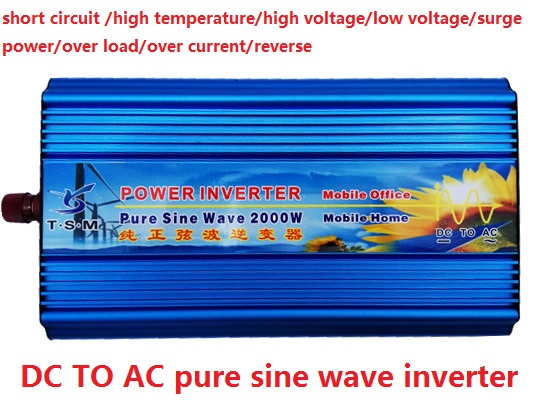 2000W/2KW 12V DC INPUT TO 220V AC OUTPUT Pure Sine Wave Power Inverter (4KW peak power) Universal socket solar power on grid tie mini 300w inverter with mppt funciton dc 10 8 30v input to ac output no extra shipping fee
