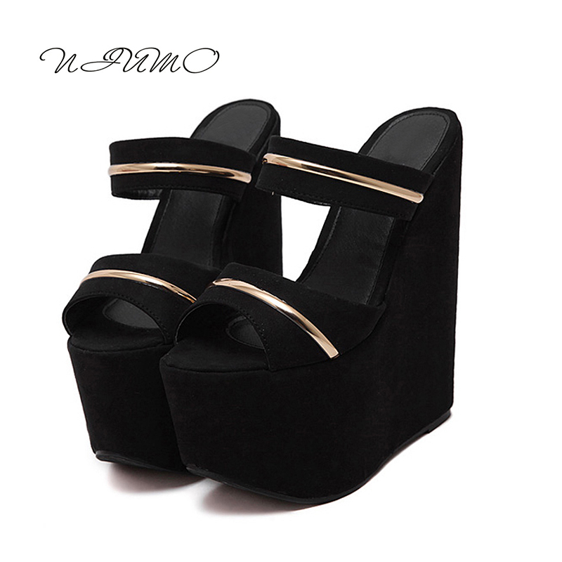2017 summer new sexy high-heeled sandals and slippers thick crust muffin slope with 17cm wedges chausson femme summer new leather sandals and slippers women sandals slope with thick crust outdoor leather lady slippers women s shoes