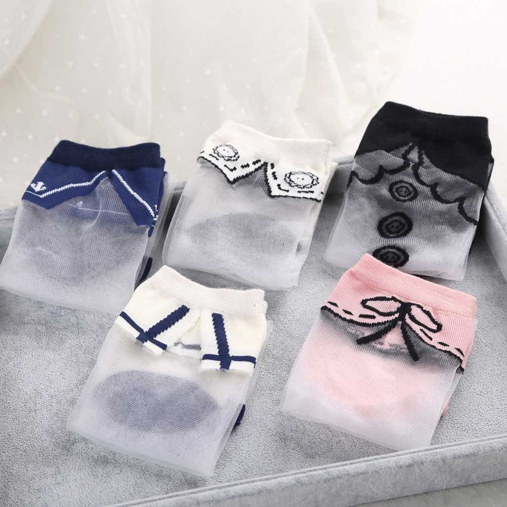 5 styles Japanese Women Transparent Socks Harajuku Collar Pattern Crystal Korean Glass Silk sox Art Socks kawaii funny novelty