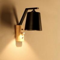 Nordic wood art wall lamps E27 creative modern bedroom bedside balcony aisle porch hotel cafe wood loft wall lamp light