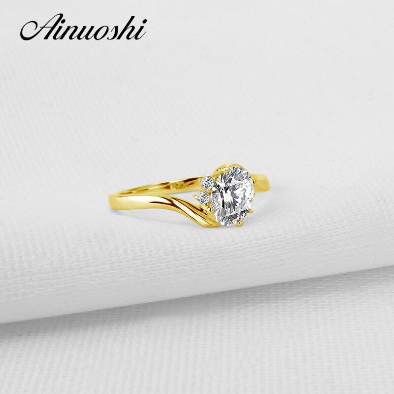 Aonuoshi 10k pevné žluté zlato ženy zásnubní prsteny solitér oválný řez  simulované  6113944fc5e