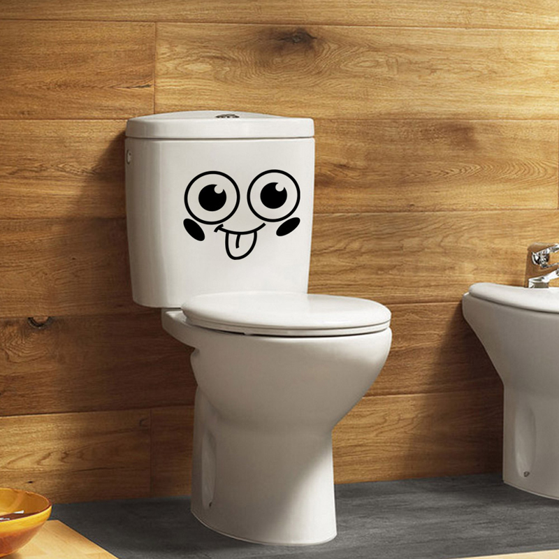 Smiley Face Toilet Sticker Wall 3D Mural Art Bathroom WC Stickers On ...