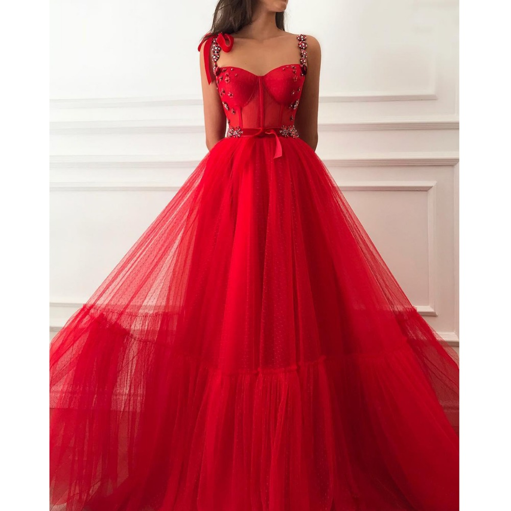 Princesse rouge cristaux pas cher longues robes de bal 2019 une ligne Tulle arabe africaine fille Pageant formelle robe de soirée Abendkleider