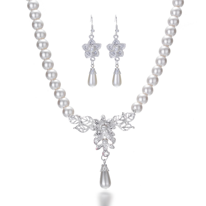 Pearl Jewelry Set for women Silver wedding Party Jewelry Sets star Earring Leaves Choker Necklace Gift