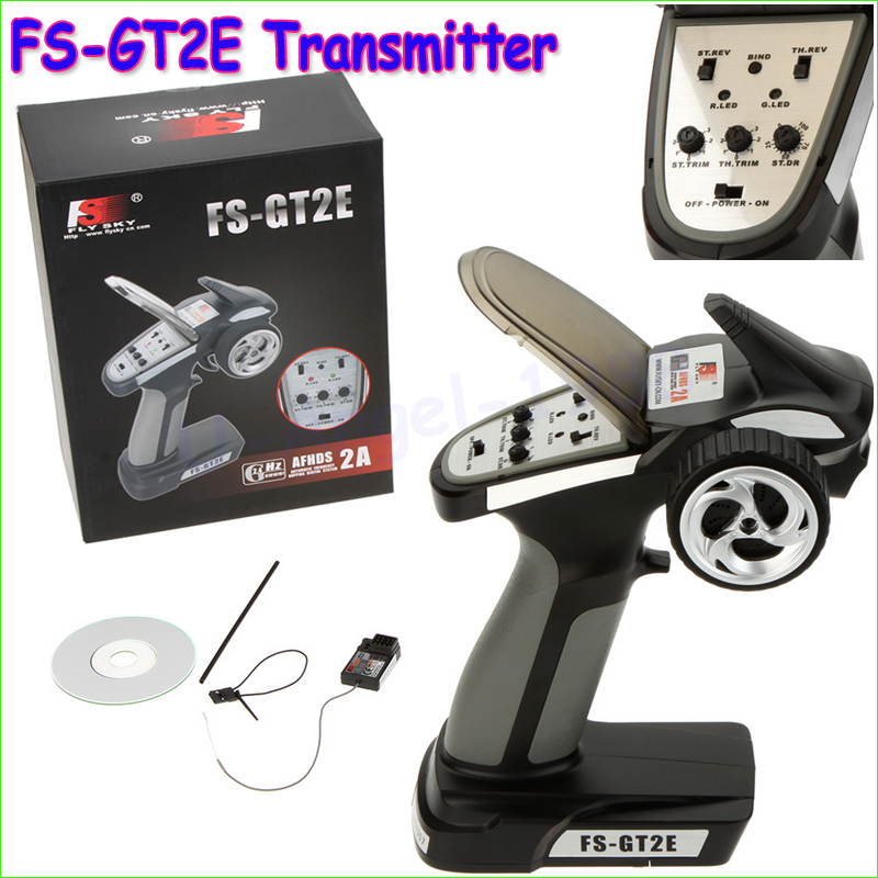 1pcs Original Flysky FS-GT2E AFHDS 2A 2.4g 2CH Radio System Transmitter for RC Car Boat with FS-A3 Receiver Drop freeship