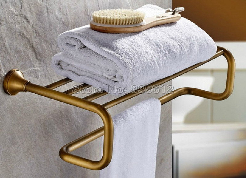 Antique Brass Wall Mounted Bathroom Towel Rack Shelf Rails Double Bar Wba075 wholesale and retail new design wall mounted towel shelf basket wall mounted brass antique towel rack