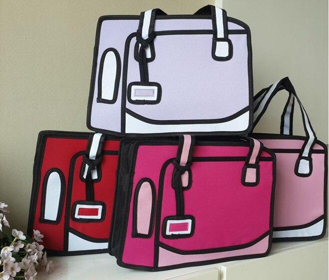 Women Funny Candy Color 3D Jump Style 2D Drawing From Cartoon Paper Bag  Comic 3D Messenger Bag Handbag