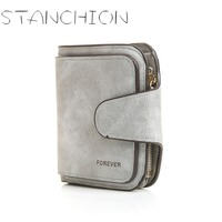STANCHION Solid Simple PU Leather Women Short Wallet Card Coin Clutch Lady Snap Fastener Zipper Purse