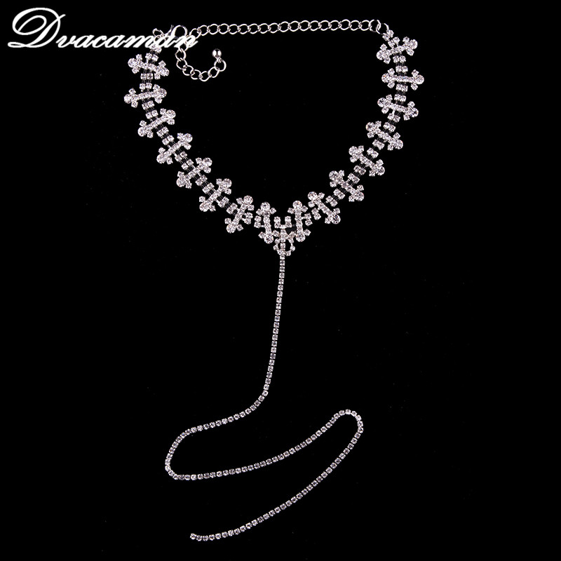 Dvacaman 2017 Newest Fashion T-Long Rhinestone High Quality Choker Necklace Collar Necklace Jewerly for Women Party 6108