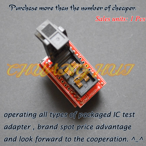 Clamshell MSOP8 to DIP8 adapter CNV-MSOP-8 programmer adapter Pitch=0.65mm free shipping 10pcs s24cs02aft tb ge s24cs02a msop 8