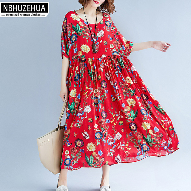 NBHUZEHUA 7G811 Women Plus Size Dresses 2018 Retro Floral Dress Short Sleeve  Loose Summer Long Dress 3XL 4XL 5XL Vintage Dress ec7ae0857
