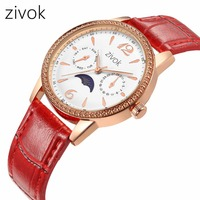 women Watches zivok brand Fashion Simple Moon phase small dial Leather Watch Clock Relogio Masculino Quartz Wristwatches 8046