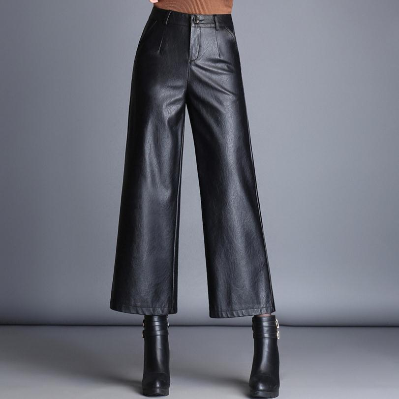 Fashion Brand Ankle-Length sheep pu leather   pants   2019 autumn Women's High package hip Quality Slim   Wide     Leg     Pants   wj1640