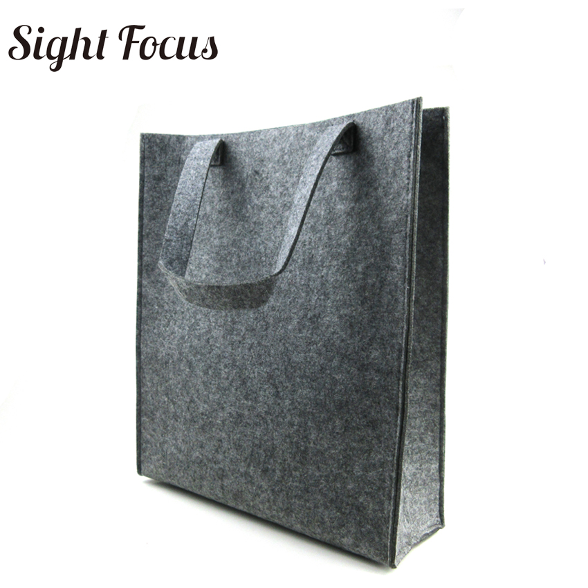 Custom Printed Recycled Women Grey Felt  Tote Bag Eco-friendly Felt Shopping Bag Solid Casual Fashion Designer Felt Grocery Bags