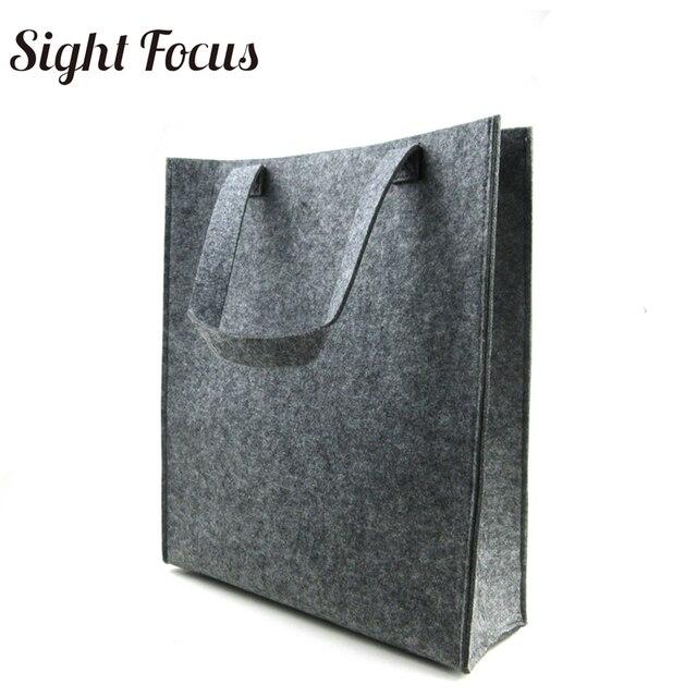 Custom Printed Recycled Women Grey Felt Tote Bag Eco-friendly Felt Shopping  Bag Solid Casual Fashion Designer Felt Grocery Bags 4ec38f54f4
